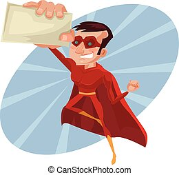 Superhero business card. Vector flat cartoon illustration