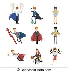 Superhero business man woman illustration set character success cartoon power concept businessman strong person silhouette leader team isolated