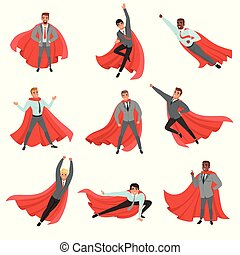 Superhero business men in different poses. Cartoon characters in formal clothes with ties and red capes. Career advancement. Successful office workers. Flat vector