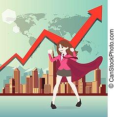 Superhero business woman cartoon with graph.