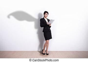 Superhero Business Woman with tablet - Superhero Business...