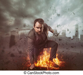 Superhero businessman concept with fire burning and city background