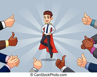 Superhero businessman in shirt with many thumbs up and clapping hands by ridjam.eps