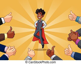 Superhero businessman in vest with many thumbs up and clapping hands