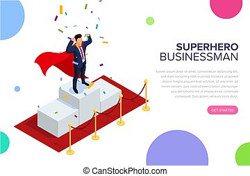 Superhero businessman or manager concept with characters. Can use for web banner, infographics, hero images. Flat isometric vector illustration isolated on white background.