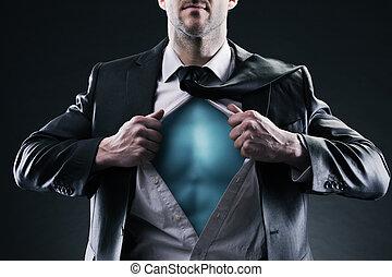 Superhero businessman pulls open shirt. Change and success ...