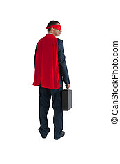 superhero businessman rear view isolated