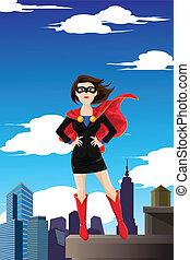 Superhero businesswoman - A vector illustration of a...