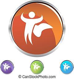 Superhero Cape - Superhero cape web button isolated on a...