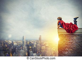 superhero, capretto, sedere muro, quello, fare un sogno