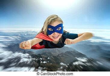 superhero, capretto, volare, attraverso, il, planet.
