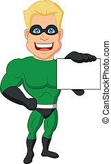 superhero, caricatura, segurando, nome, cartão