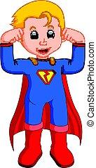 superhero, cartone animato, capretto