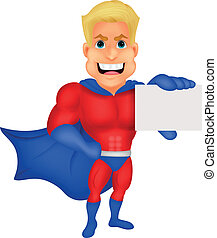 Superhero cartoon holding name card
