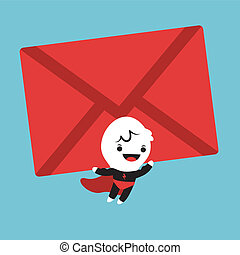 Superhero cartoon lifting an mail envelope - Cute Superhero...