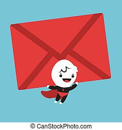Superhero cartoon lifting an mail envelope - Cute Superhero...