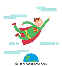 Superhero character fly away from Eath - Superhero with sile...