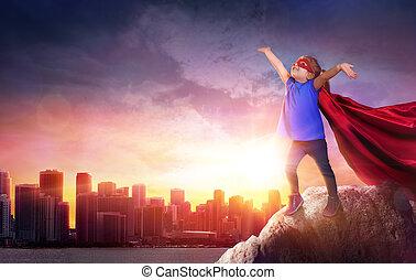 Superhero Child With Cityscape