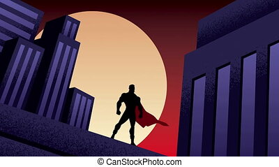 Superhero City Night Animation - Superhero watching over the...