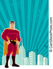Superhero City - Superhero over a grunge background with...