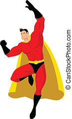 SUPERHERO - Stock vector of a superhero in flying pose