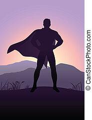 Superhero - Silhouette illustration of a superhero standing...