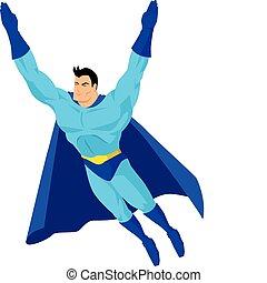 Superhero - Cartoon superhero in flying pose