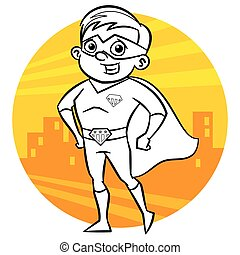 Superhero Coloring page. Comic character isolated on white background