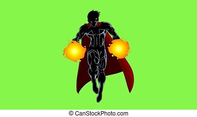 SuperHero Comics Character Flying. 4K Animation Video Motion Graphics With Green Screen Background
