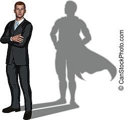 superhero, conceito, homem negócios