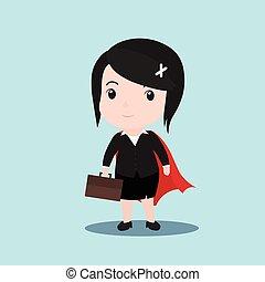 superhero, conceito negócio, vetorial, caricatura, mulheres