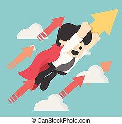 Superhero concept business flying Targering High vector illustration. leader, superior