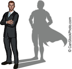 superhero, concetto, uomo affari