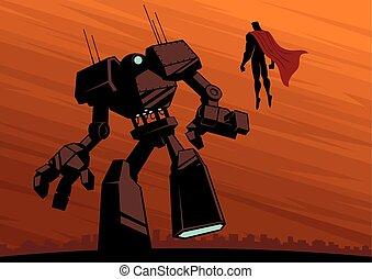 superhero, contro, robot, 2