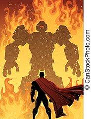 superhero, contro, robot