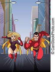 superhero, coppia, correndo, in, città