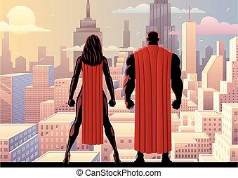 superhero, coppia, orologio, giorno