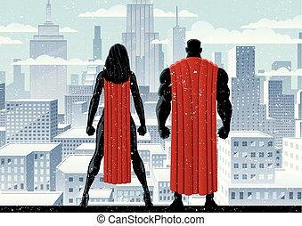 superhero, coppia, orologio, inverno