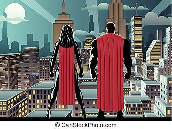 superhero, coppia, orologio, notte