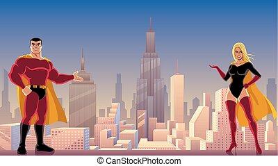 superhero, coppia, presentare