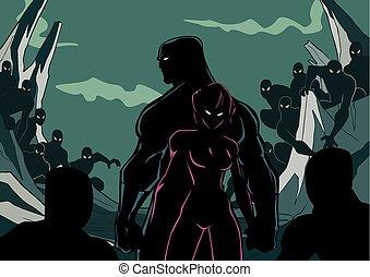superhero, coppia, silhouette, minions