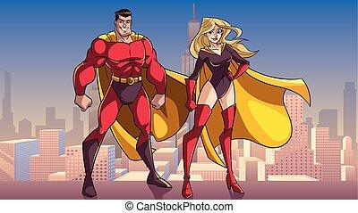 superhero, coppia, standing, alto, in, città