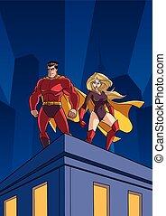 superhero, coppia, tetto, orologio