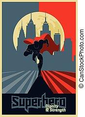 superhero, correndo, davanti, uno, urbano, fondo., manifesto, rosso, e, blue., vettore, illustration.