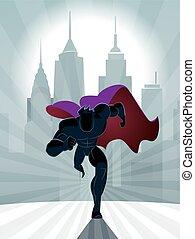 superhero, correndo, davanti, uno, urbano, fondo.