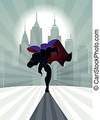 superhero, correndo, davanti, uno, urbano, fondo., vettore, illustrazione