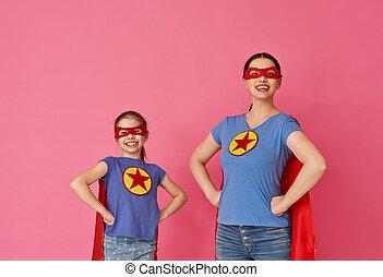 superhero, costumes, famille