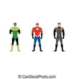 Superhero costumes isolated set
