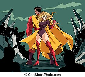 Superhero Couple Back to Back