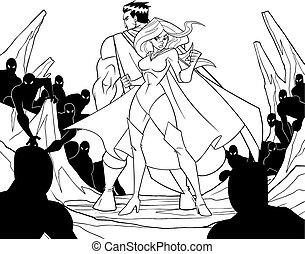 Superhero Couple Back to Back Line Art